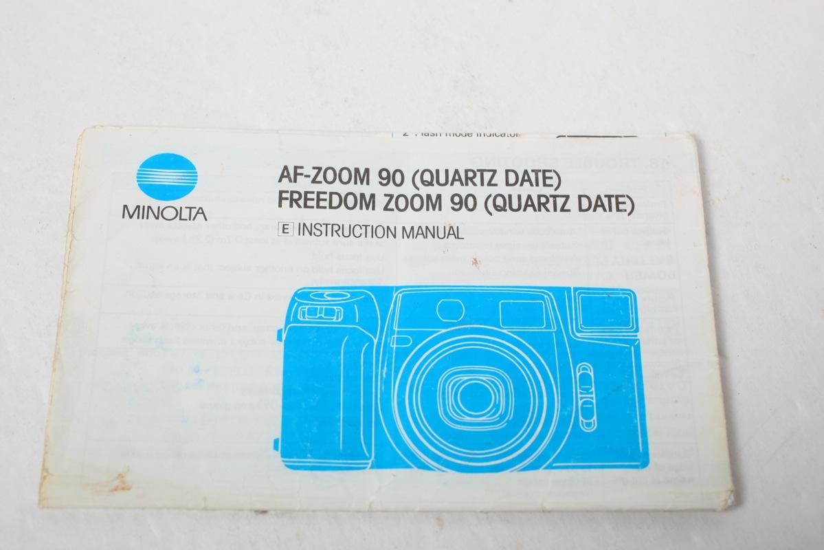 Minolta Af Zoom 90 Quartz Date Freedom Instruction Sheet border=